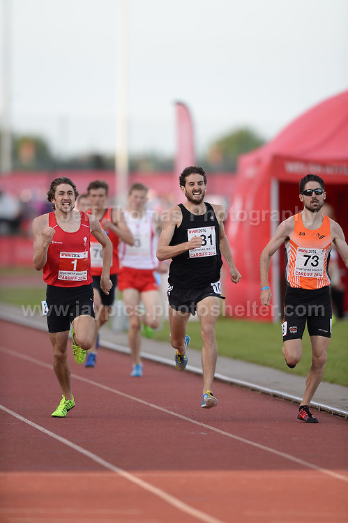 International athletics at Cardiff International stadium, Cardiff, South Wales - Tuesday 15th July 2014<br /> <br /> The Men's 800m final race. <br /> <br /> <br /> Photo by Jeff Thomas Photography