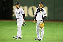 (L-R)<br />   Arihito Muramatsu (JPN),<br />  Akihiro Yano (JPN),<br /> NOVEMBER 15, 2014 - Baseball : <br /> 2014 All Star Series Game 3 between Japan 4-0 MLB All Stars <br /> at Tokyo Dome in Tokyo, Japan. <br /> (Photo by Shingo Ito/AFLO SPORT)[1195]