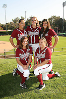 1 November 2007: Ashley Chinn, Melisa Koutz, Erikka Moreno, Autumn Albers, and Brittany Minder on picture day at Boyd and Jill Smith Family Stadium in Stanford, CA.