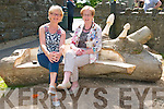 Forge Park Opening :Patricia lanigan & Joan Murphy  relaxing in on one of the new tree seats in Forge Park, Tarbert.