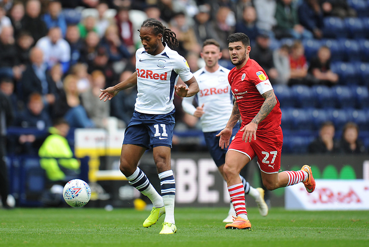 Preston North End's Daniel Johnson under pressure from Barnsley's Alex Mowatt<br /> <br /> Photographer Kevin Barnes/CameraSport<br /> <br /> The EFL Sky Bet Championship - Preston North End v Barnsley - Saturday 5th October 2019 - Deepdale Stadium - Preston<br /> <br /> World Copyright © 2019 CameraSport. All rights reserved. 43 Linden Ave. Countesthorpe. Leicester. England. LE8 5PG - Tel: +44 (0) 116 277 4147 - admin@camerasport.com - www.camerasport.com