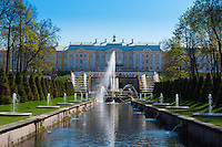 The Grand Palace And Grand Cascade In Peterhof