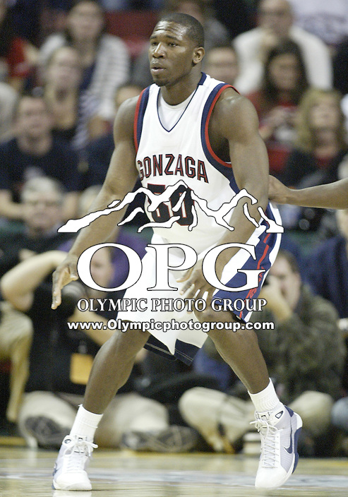 20 December 2008:  Gonzaga Bulldogs forward #50 Ira brown sets up under the basket against the Connecticut Huskies at Key Arena in Seattle, WA.  Connecticut won  88-83  over Gonzaga in the Comcast Battle in Seattle.