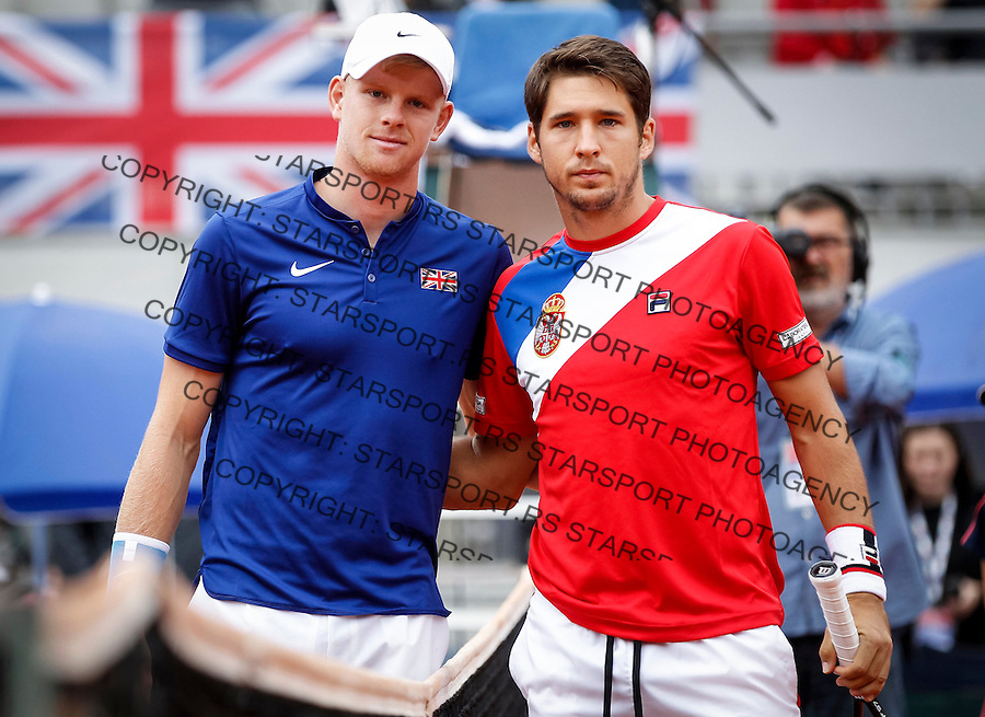 BELGRADE, SERBIA - JULY 17: Kyle Edmund (L) of Great Britain and Dusan Lajovic of Serbia pose for the phoro prior day three of the Davis Cup Quarter Final match between Serbia and Great Britain on Stadium Tasmajdan on July 17, 2016 in Belgrade, Serbia. (Photo by Srdjan Stevanovic/Getty Images)