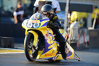 Oct. 5, 2012; Mohnton, PA, USA: NHRA pro stock motorcycle rider Wesley Wells during qualifying for the Auto Plus Nationals at Maple Grove Raceway. Mandatory Credit: Mark J. Rebilas-