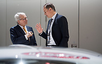dpatop - 03 May 2018, Germany, Berlin: Wolfgang Porsche (l), member of the supervisory board at Volkswagen, and Oliver Blume, CEO of Porsche, in conversation at the Volkswagen AG annual general meeting at the Messegelaende in Berlin. Photo: Bernd von Jutrczenka/dpa /MediaPunch ***FOR USA ONLY***