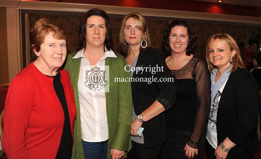 Joan Cahill, Catherine Lyne, Desiree Crowley, Joanne Pierce and Amanda Murray at the St. Pauls Basketball Club fashion show   in The  Killarney  Avenue Hotel on Friday night.  Picture: Eamonn Keogh (MacMonagle, Killarney).