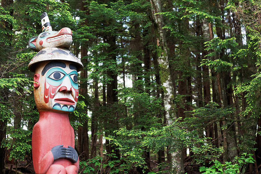 Replica of Top of Man Wearing Bear Hat totem pole, Totem Bight State Historical Park, Ketchikan, Alaska