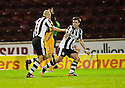 ST MIRREN'S JIM GOODWIN (6) CELEBRATES WITH PAUL MCGOWAN AFTER HE SCORES THE EQUALISER..17/12/2011 sct_jsp009_motherwell_v_st_mirren     .Copyright  Pic : James Stewart.James Stewart Photography 19 Carronlea Drive, Falkirk. FK2 8DN      Vat Reg No. 607 6932 25.Telephone      : +44 (0)1324 570291 .Mobile              : +44 (0)7721 416997.E-mail  :  jim@jspa.co.uk.If you require further information then contact Jim Stewart on any of the numbers above.........
