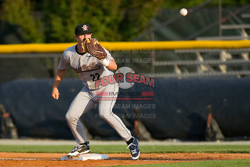 First baseman Marcus Nidiffer #22 of the Greeneville Astros waits for a throw against the Burlington Royals at Burlington Athletic Stadium June22, 2010, in Burlington, North Carolina.  Photo by Brian Westerholt / Four Seam Images