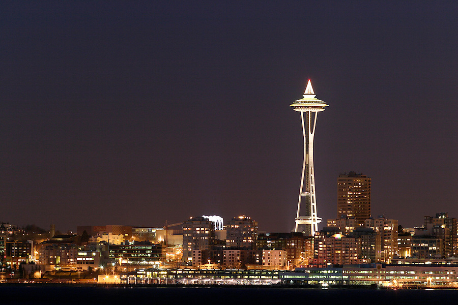 Seattle Space Needle and Elliot Bay viewed from West Seattle, Seattle, Washington, USA