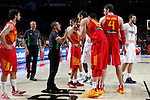 Spain´s Ricky Rubio, Sergio Llull, Marc Gasol and Pau Gasol and France´s Lauvergne and Diaw fight during FIBA Basketball World Cup Spain 2014 match between Spain and France at `Palacio de los deportes´ stadium in Madrid, Spain. September 10, 2014. (Victor Blanco)