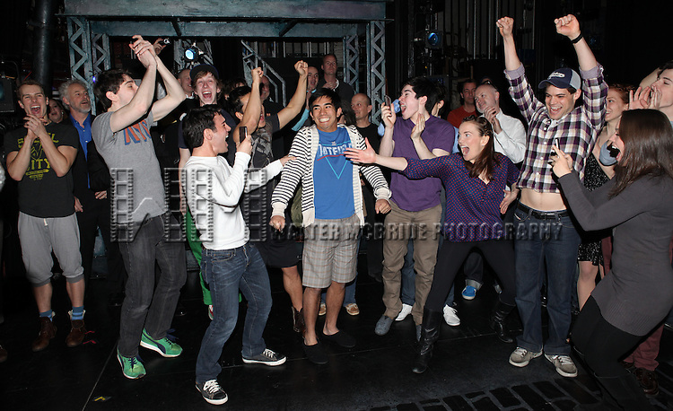 Aaron J. Albano with Ryan Steele, Tommy Bracco, Ben Fankhauser, Alex Wong, Kyle Coffman, Andy Richardson, Kara Lindsay, Jeremy Jordan & Company.attending the Actors' Equity Broadway Opening Night Gypsy Robe Ceremony for Aaron J. Albano in.'Newsies - The Musical' at the Nederlander Theatre in NewYork City on 3/29/2012