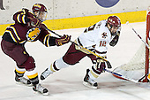 Adam Miller, Chris Collins - The Boston College Eagles and Ferris State Bulldogs tied at 3 in the opening game of the Denver Cup on Friday, December 30, 2005, at Magness Arena in Denver, Colorado.  Boston College won the shootout to determine which team would advance to the Final.