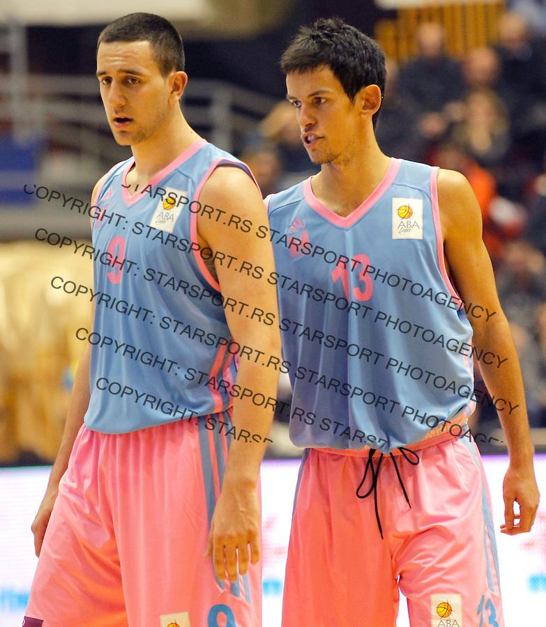 Kosarka ABA League season 2013-2014<br /> Partizan Vs. Mega Vizura<br /> Vasilije Micic (L) and Nenad Miljenovic<br /> Beograd, 09.10.2013.<br /> foto: Srdjan Stevanovic/Starsportphoto &copy;