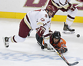 Joe Rooney 17 of Boston College and Brandon Svendsen 23 of Bowling Green both go after the puck. The Eagles of Boston College defeated the Falcons of Bowling Green State University 5-1 on Saturday, October 21, 2006, at Kelley Rink of Conte Forum in Chestnut Hill, Massachusetts.<br />