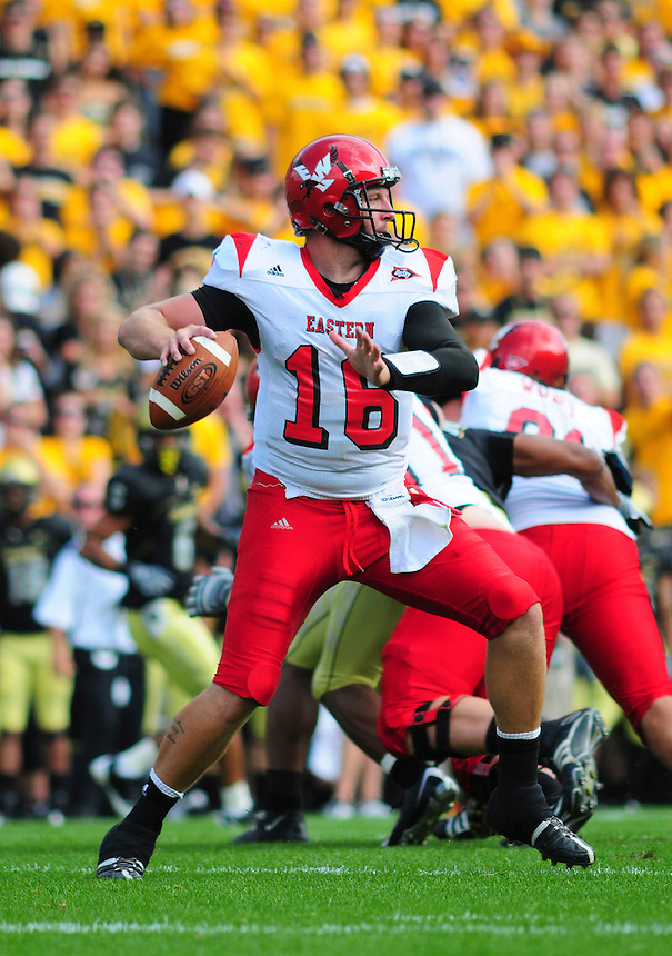 06 September 08: Eastern Washington quarterback Matt Nichols during a game against Colorado. The Colorado Buffaloes defeated the Eastern Washington Eagles 31-24 at Folsom Field in Boulder, Colorado. FOR EDITORIAL USE ONLY
