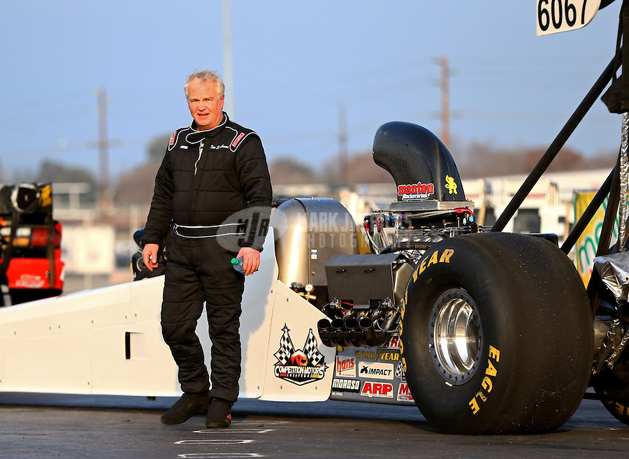 Feb 9, 2014; Pomona, CA, USA; NHRA top alcohol dragster driver Don St. Arnaud during the Winternationals at Auto Club Raceway at Pomona. Mandatory Credit: Mark J. Rebilas-
