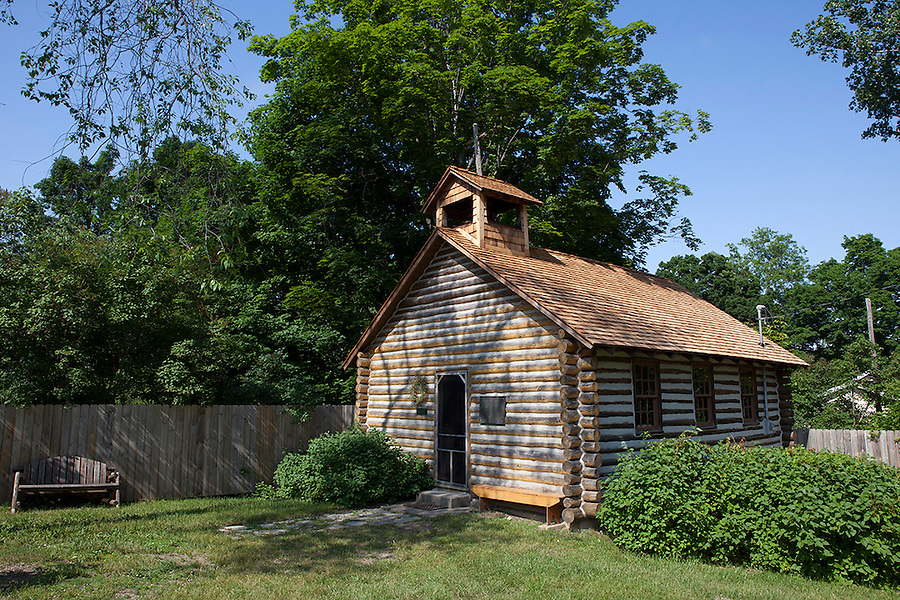 Old Mission Church replica, built in 1840, was used as a church and school for the Chippewa Indians, Old Mission Peninsula, Lake Michigan, Traverse City area, Michigan, USA