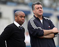 Leyton manager Troy Townsend (L) and assistant Tony Levoni during Redbridge vs Leyton, Ryman League Division One North Football at Oakside Stadium on 28th February 2009