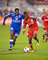 19 October 2010: Toronto FC Nicolas Lindsay #37 and Arabe Unido Felix Gondola #26 in action during a CONCACAF game between Arabe Unido and Toronto FC at BMO Field in Toronto..