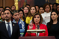 Speaker of the United States House of Representatives Nancy Pelosi (Democrat of California), joined by other Democratic lawmakers, speaks during a press conference on the Deferred Action for Childhood Arrivals program on Capitol Hill in Washington D.C., U.S. on Tuesday, November 12, 2019.  The Supreme Court is currently hearing a case that will determine the legality and future of the DACA program.  <br /> <br /> Credit: Stefani Reynolds / CNP /MediaPunch