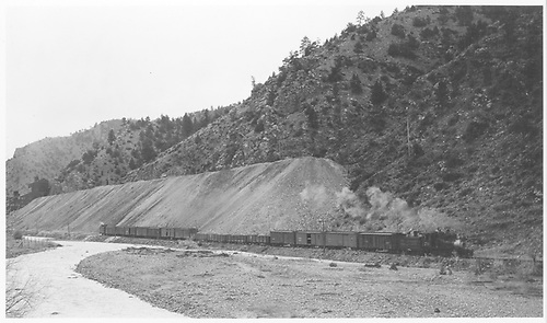 C&amp;S #70 leaving Idaho Springs with the last freight train.<br /> C&amp;S  Idaho Springs, CO  Taken by Kindig, Richard H. - 5/4/1941