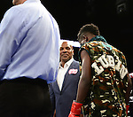 MIAMI, FL - JULY 10: Mike Tyson  and Erickson Lubin (camouflage short) in the ring fighting at the Iron Mike Judgement Day boxing match at AmericanAirlines Arena on July 10, 2014 in Miami, Florida. Lubin defeated Bolanos by unanimous decision in eight rounds. (Photo by Johnny Louis/jlnphotography.com)
