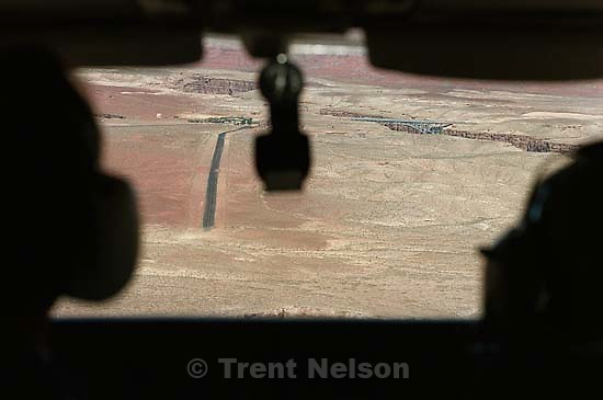 Looking out of the plane's cockpit at the Marble Canyon lodge airstrip<br />