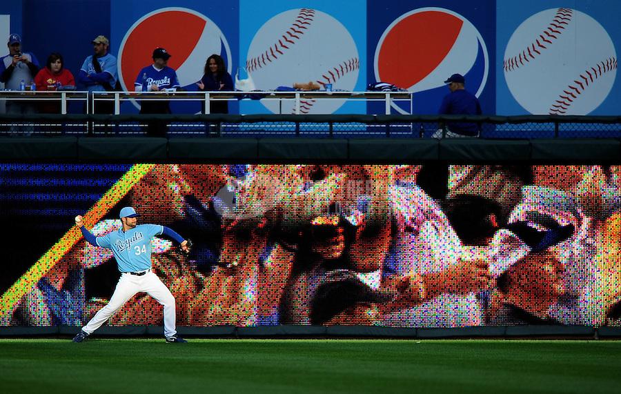 Oct. 2, 2010; Kansas City, MO, USA; Kansas City Royals pitcher Kyle Davies warms up prior to the game against the Tampa Bay Rays at Kauffman Stadium. Mandatory Credit: Mark J. Rebilas-