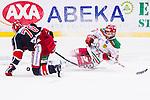 S&ouml;dert&auml;lje 2013-12-12 Ishockey Hockeyallsvenskan S&ouml;dert&auml;lje SK - Mora IK :  <br /> Mora 8 Robin Johansson faller i en n&auml;rkamp med S&ouml;dert&auml;lje 70 Peter Nolander <br /> (Foto: Kenta J&ouml;nsson) Nyckelord: