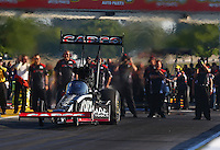 Sep 27, 2013; Madison, IL, USA; NHRA top fuel dragster driver Billy Torrence during qualifying for the Midwest Nationals at Gateway Motorsports Park. Mandatory Credit: Mark J. Rebilas-