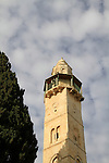 Israel, Jerusalem, the minaret of the Mosque of Omar