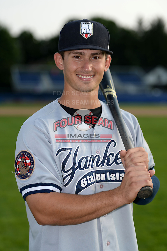 Staten Island Yankees outfielder Nathan Mikolas (30) poses for a photo before a game against the Batavia Muckdogs on August 8, 2014 at Dwyer Stadium in Batavia, New York.  Staten Island defeated Batavia 4-2.  (Mike Janes/Four Seam Images)