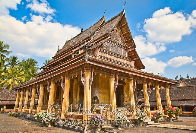 A beautiful example of Laotian architecture, this building is used for the ordination of Buddhist monks.<br /> (Photo by Matt Considine - Images of Asia Collection)