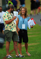 Skysport's Scotty Stevenson and Melodie Robinson on day one of the Bayleys National Sevens at Rotorua International Stadium, Rotorua, New Zealand on Saturday, 16 January 2015. Photo: Dave Lintott / lintottphoto.co.nz