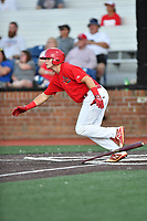 Johnson City Cardinals Mateo Gil (23) runs to first base during game two of the Appalachian League, West Division Playoffs against the Bristol Pirates at TVA Credit Union Ballpark on August 31, 2019 in Johnson City, Tennessee. The Cardinals defeated the Pirates 7-4 to even the series at 1-1. (Tony Farlow/Four Seam Images)