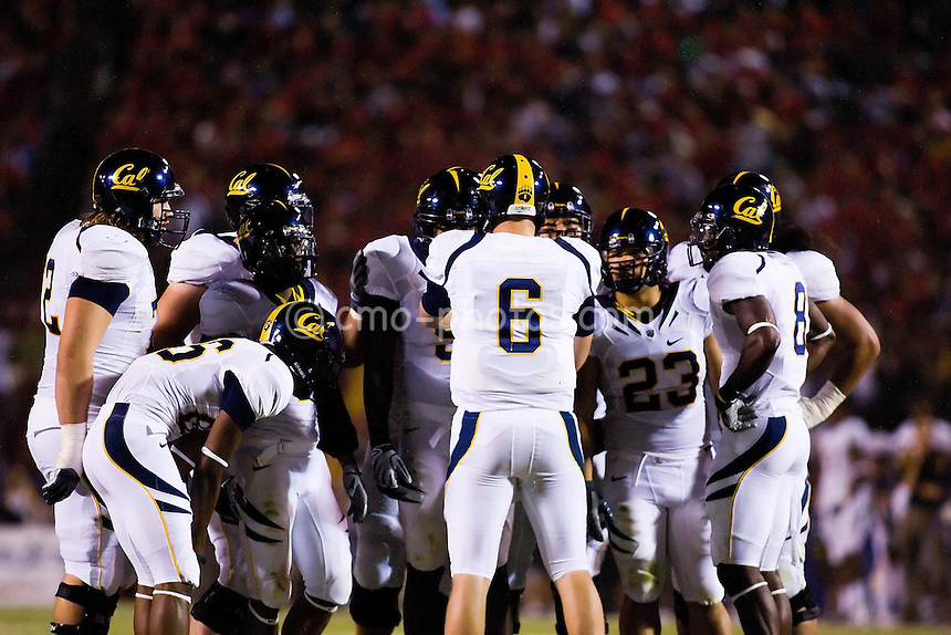 Oct 18, 2008; Tucson, AZ, USA; California Golden Bears quarterback Nate Longshore (6) leads a huddle of the Golden Bears' offense during a game against the Arizona Wildcats.  Arizona defeated California 42-27.