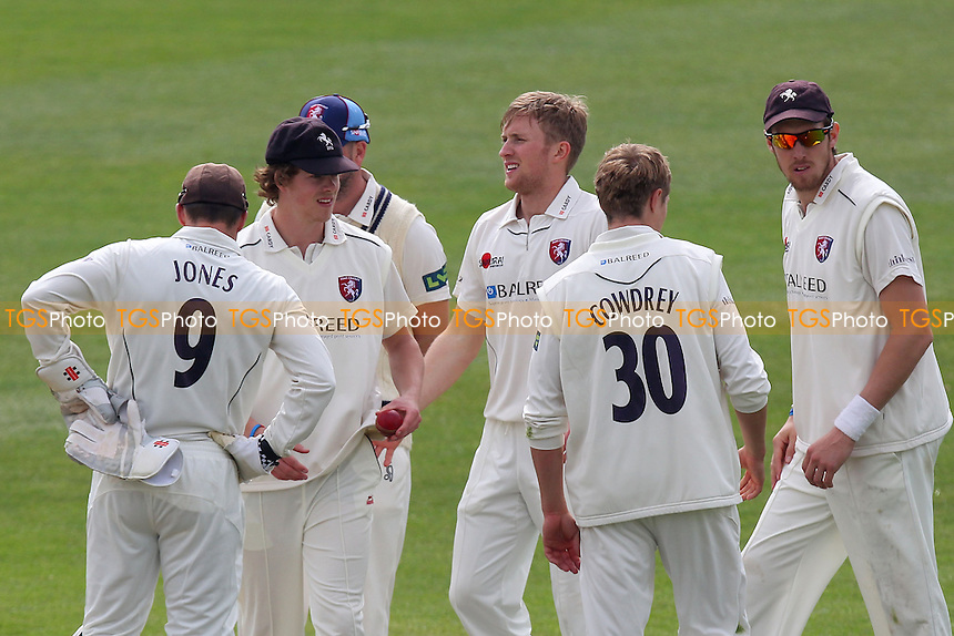 Adam Ball (C) of Kent is congratulated on the wicket of Jaik Mickleburgh - Essex CCC vs Kent CCC - Pre-Season Friendly Cricket Match at the Essex County Ground, Chelmsford - 03/04/14 - MANDATORY CREDIT: Gavin Ellis/TGSPHOTO - Self billing applies where appropriate - 0845 094 6026 - contact@tgsphoto.co.uk - NO UNPAID USE