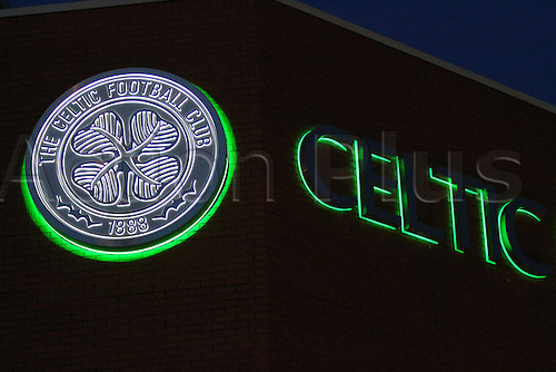 02.03.2016. Celtic Park, Glasgow, Scotland. Scottish Premier League. Celtic versus Dundee. Celtic sign illuminated before the match with Dundee