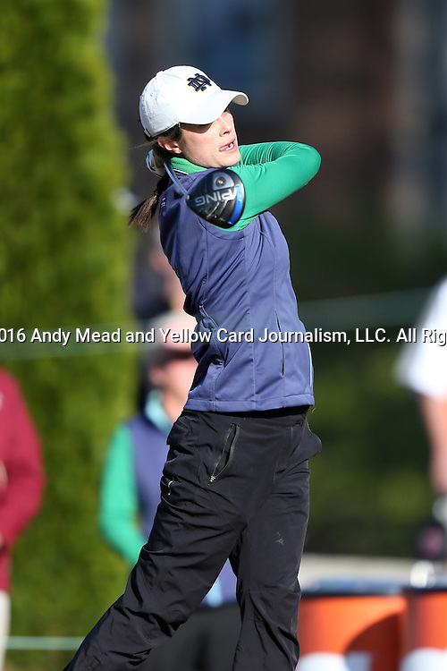 17 April 2016: Notre Dame's Jordan Ferreira. The Second Round of the Atlantic Coast Conference's Women's Golf Championship was held at Sedgefield Country Club in Greensboro, North Carolina.