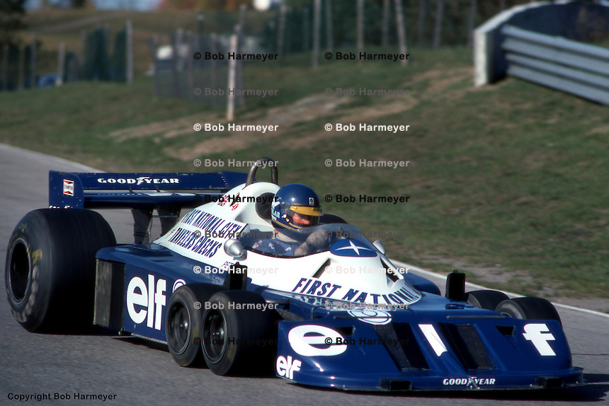 BOWMANVILLE, ONT - OCTOBER 9: Ronnie Peterson drives the  Tyrrell P34 6/Ford Cosworth DFV during practice for the Canadian Grand Prix on October 9, 1977, at Mosport Park near Bowmanville, Ontario.