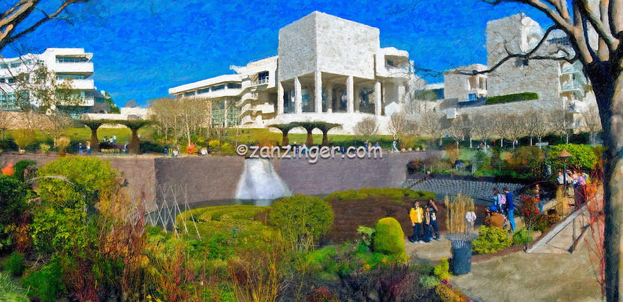 J. Paul Getty Museum, Center Garden Panorama, Digital oil painted texture,  Beautiful, Unique