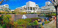 J. Paul Getty Museum, Center Garden Panorama, Digital oil painted texture,  Beautiful, Unique