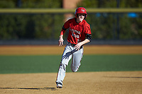 Taber Mongero (23) of the Gardner-Webb Runnin' Bulldogs hustles towards third base against the Wake Forest Demon Deacons at David F. Couch Ballpark on February 18, 2018 in  Winston-Salem, North Carolina. The Demon Deacons defeated the Runnin' Bulldogs 8-4 in game one of a double-header.  (Brian Westerholt/Four Seam Images)