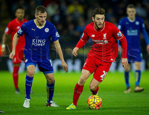 02.02.2016.  Leicester, England. Barclays Premier League. Leicester City versus Liverpool. Adam Lallana of Liverpool on the ball covered by Albrighton
