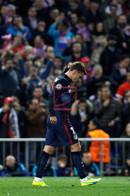 UEFA Champions League 2015-2016.<br /> Quarter-finals Second leg.<br /> Club Atletico de Madrid vs FC Barcelona: 2-0.<br /> Antoine Griezmann.