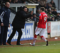 Andy Mangan of Wrexham celebrates scoring with manager Dean Saunders during the Blue Square Bet Premier match between Cambridge United and Wrexham at the Abbey Stadium, Cambridge on 22nd January, 2011 .© Kevin Coleman 2011