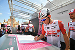 Caleb Ewan (AUS) Lotto-Soudal at sign on before Stage 11 of the 2019 Giro d'Italia, running 221km from Carpi to Novi Ligure, Italy. 22nd May 2019<br /> Picture: Massimo Paolone/LaPresse | Cyclefile<br /> <br /> All photos usage must carry mandatory copyright credit (© Cyclefile | Massimo Paolone/LaPresse)