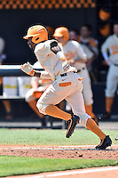 Tennessee Volunteers center fielder Brodie Leftridge (1) runs to first during a game against the Vanderbilt Commodores at Lindsey Nelson Stadium on April 24, 2016 in Knoxville, Tennessee. The Volunteers defeated the Commodores 5-3. (Tony Farlow/Four Seam Images)